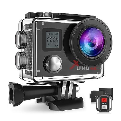 Campark ACT76 Camara Deportiva 4K Ultra HD Cámara de Acción (16MP, Control Remoto, Wi-Fi Camera Acuatica con 170 Gran Angular y 2 Baterías)