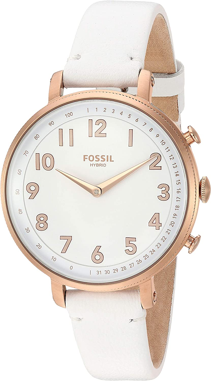 Fossil Womens Stainless Steel Hybrid Watch with Leather Strap, White, 14 (Model: FTW5045)