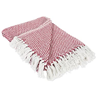 DII 100% Cotton Basket Weave Throw for Indoor/Outdoor Use Camping Bbq's Beaches Everyday Blanket, 50 x 60 , Barn Red
