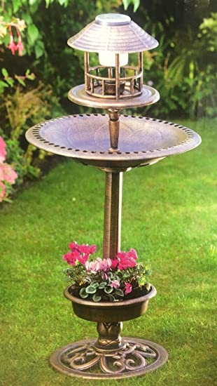 Mason Jones 3 In 1 Solar Powered Bird Bath Feeder Planter With