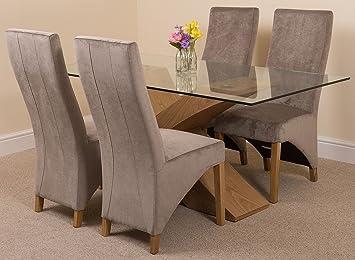 Juego de muebles de comedor Valencia con mesa de madera de roble y cristal de 160 cm y 4 sillas de tela gris: Amazon.es: Hogar