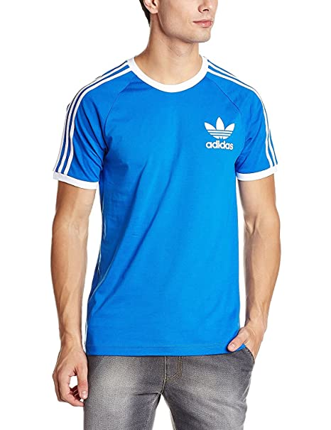 Adidas. Men'S Crew Neck California Camiseta de Manga Corta Regular Fit (XL, Azul)