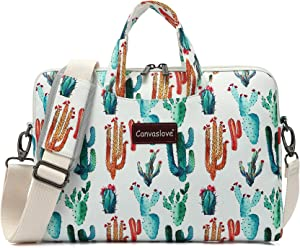 Canvaslove Cactus Water Resistant Laptop Shoulder Messenger Bag for MacBook Pro Air 13 inch,iPad 12.9 inch,Surface Laptop Book 13.5 inch and 11 inch 12.5 inch 13.3 inch Laptop