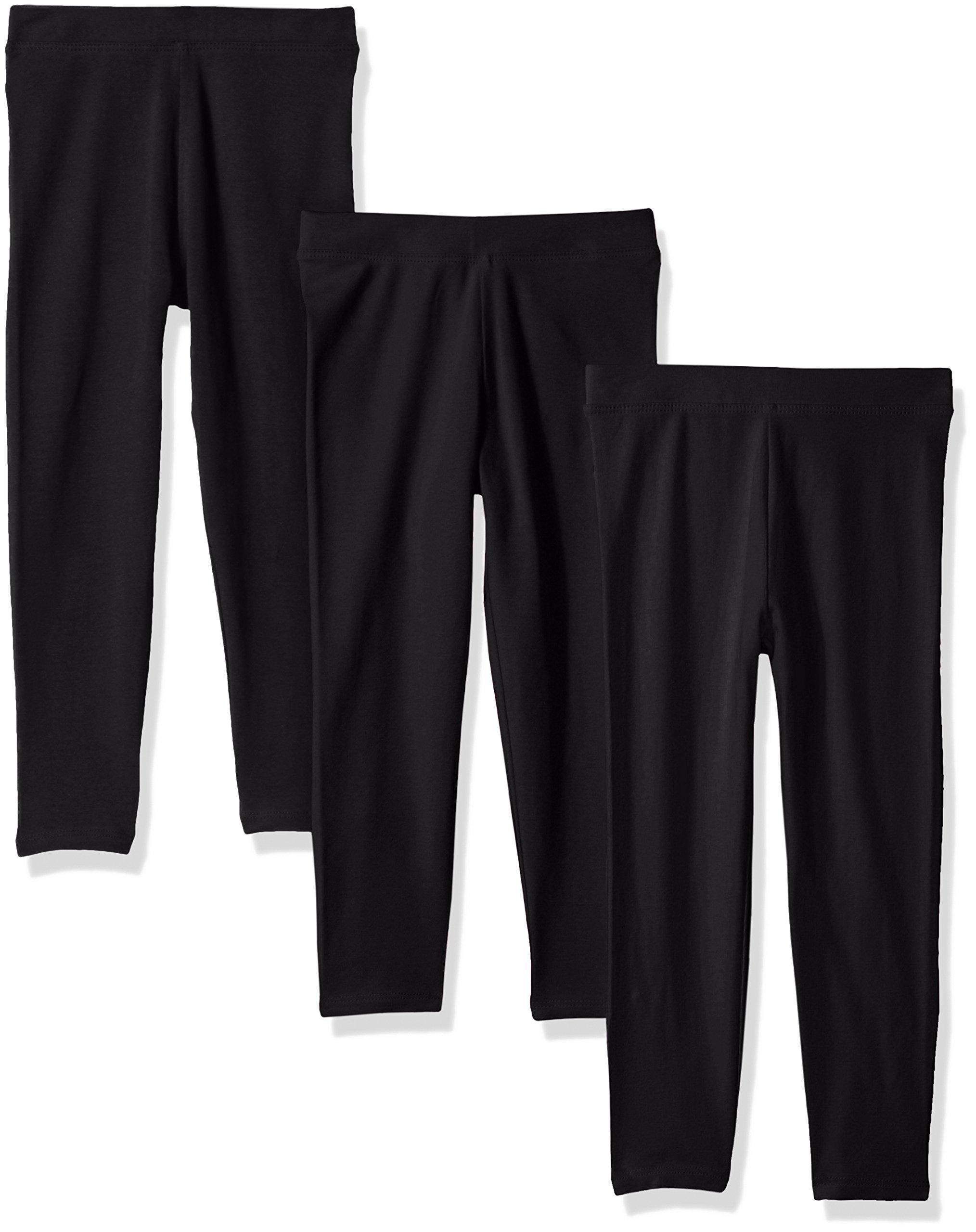 Amazon Essentials Girls' 3-Pack Leggings, Black/Black/Black, M (8)