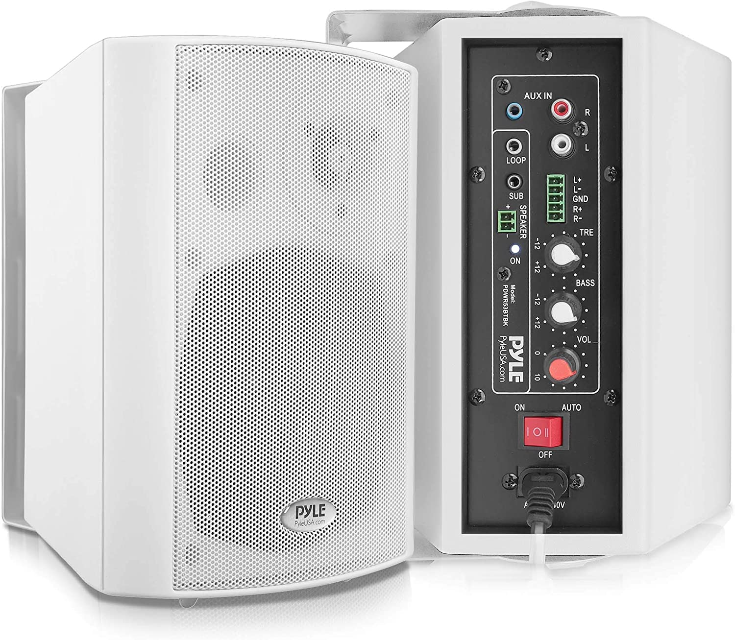 Wall Mount Home Speaker System - Active Passive Mountable Bookshelf Indoor Studio Garage Patio Stereo Sound Home Theater Speaker, Wireless Bluetooth Speaker Set W/Aux & RCA - Pyle PDWR53BTWT (White)
