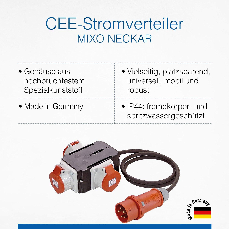 As Schwabe Mixo Adapter Stromverteiler Neckar Cee Stecker Mit 1 5 M Gummischlauchleitung Auf 3 Cee Steckdosen Robuster Baustellen Starkstrom Verteiler Ip44 Made In Germany I 60526 Baumarkt