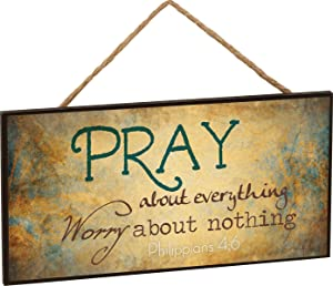P. Graham Dunn Pray About Everything Worry About Nothing Philippians 4:6 Wooden Sign with Jute Rope Hanger