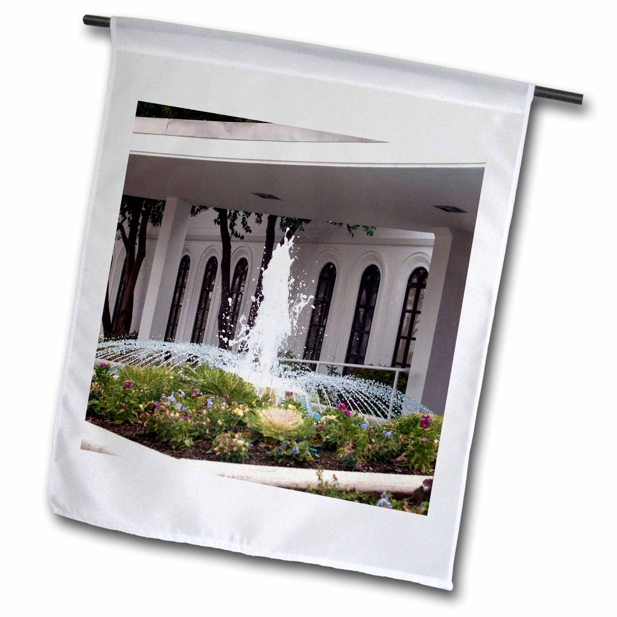 3dRose Jos Fauxtographee- LDS Temple Fountain - An LDS Temple and a beautiful fountain out front in a garden - 18 x 27 inch Garden Flag (fl_263285_2)