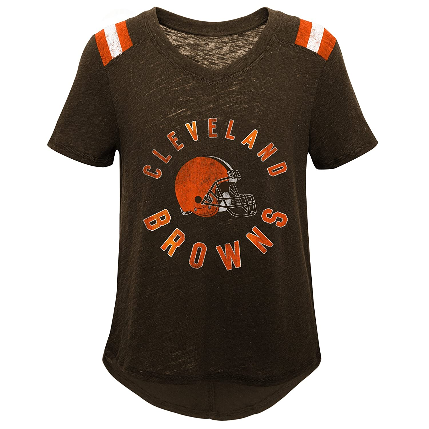 14 Youth Large Outerstuff NFL NFL Cleveland Browns Youth Girls Retro Block Vintage Short Sleeve Football Tee Brown Suede