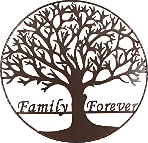 Urbalabs Family Forever Tree Of Life Metal Wall Art 24 Inch Twisted Braid Circle Western Wall Art Garden Decor Inspirational Wall Art Family Wall Decor Hanging Paintable (Tree of Life 24)