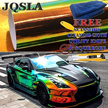 Holographic Rainbow Green Neo Chrome Car Vinyl Wrap 1FT x 4.5FT