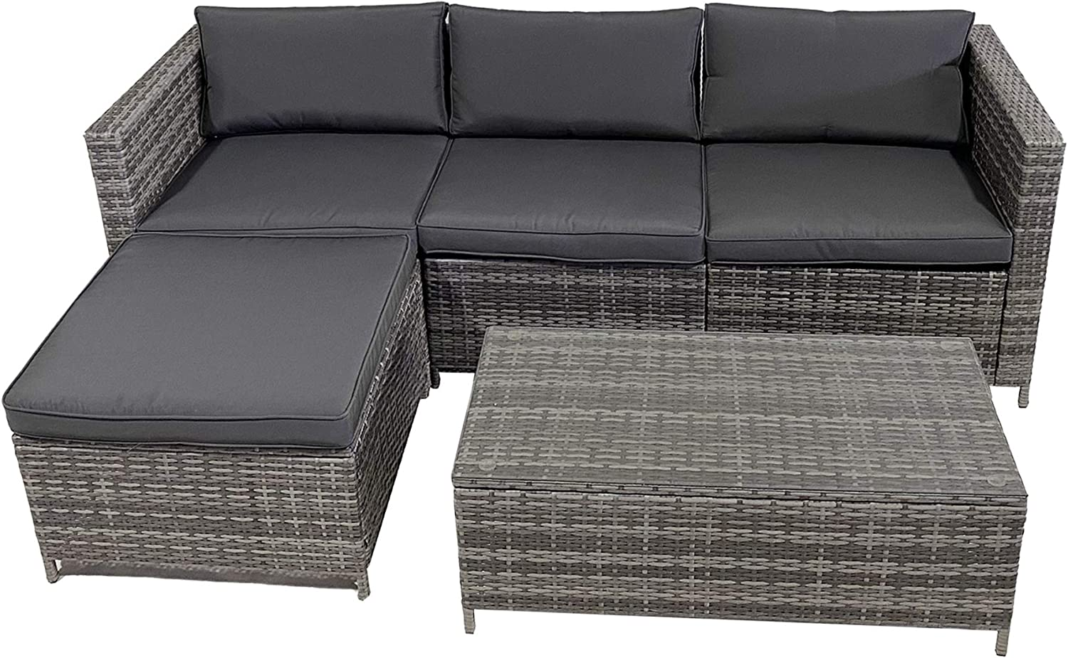 SUNVIVI OUTDOOR Patio Furniture, 5 Piece All Weather Grey PE Wicker Patio Sectional Furniture Conversation Sofa Set with Coffee Table, Removable Cushions (Grey-Grey)