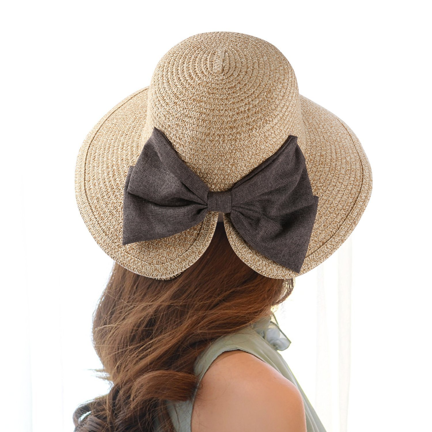 13d01c1a EINSKEY Womens Straw Hat Summer Wide Brim Sun Hat Packable Panama Fedora Hat  product image