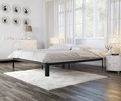 In Style Furnishings Minimalist Bed Frame   Modern Lunar Low Profile Platform  Bed With Metal Frame