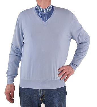 Gran Sasso ExtraFine Merino Wool V-Neck Sweater at Amazon Men's ...