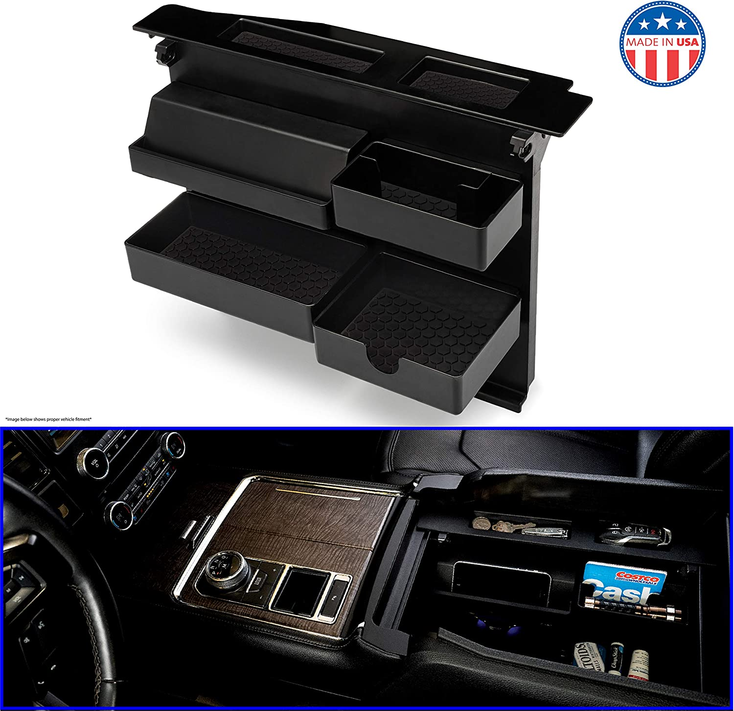 Raptor F350 | F250 | Fits ONLY Vehicle w Bucket Seats 2018-2020 | Expedition 2015-2020 MX Auto-Salient Console Organizer for Select Ford Trucks /& SUVs-Compatible with |Ford F150 2017-2020
