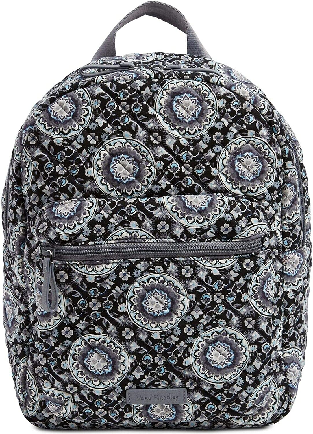 Vera Bradley Womens Iconic Leighton Quilted Floral Backpack Gray Small