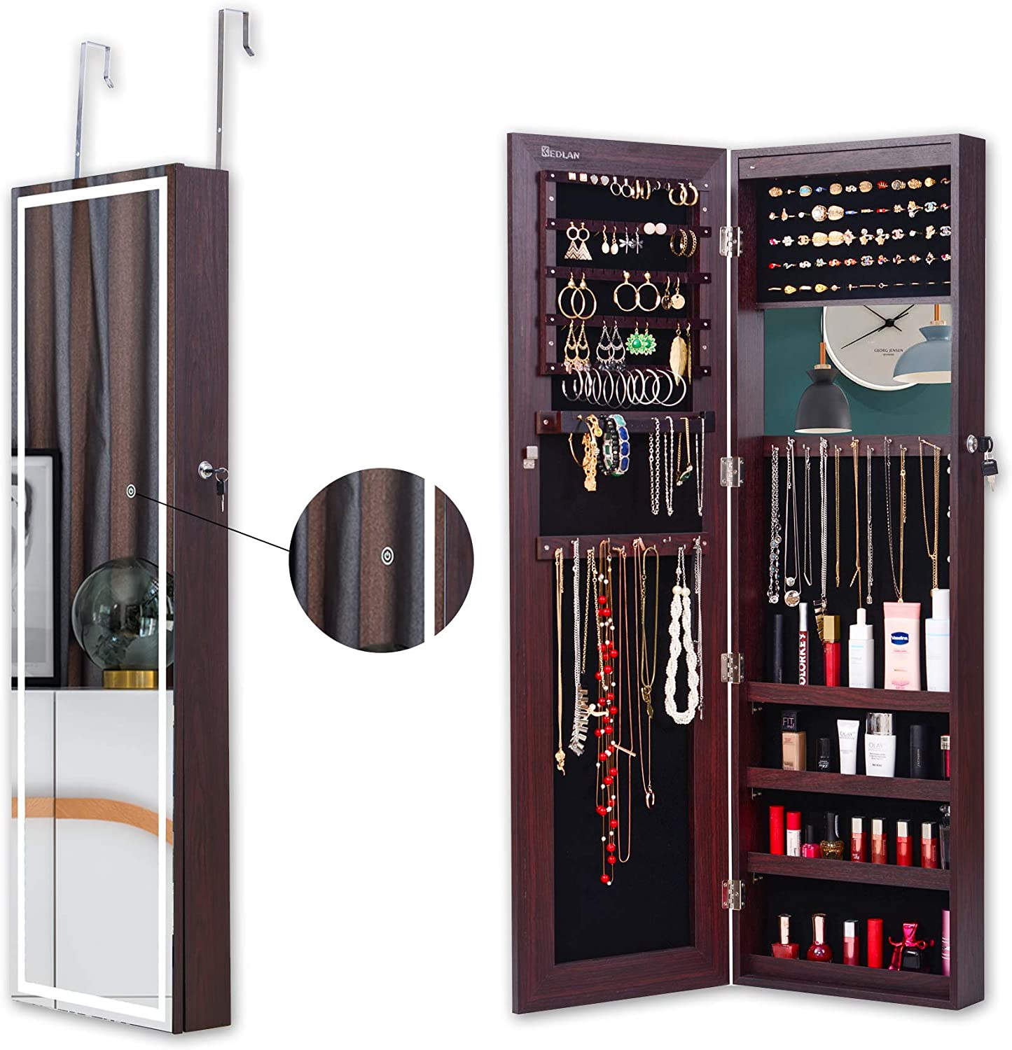 Makeup Wider View KEDLAN Jewelry Armoire Cabinet Touch Screen Light /& 6 LED Inside Dark Brown Full-Length Frameless Mirrored Storage on Wall or Door Large Capacity for Dressing