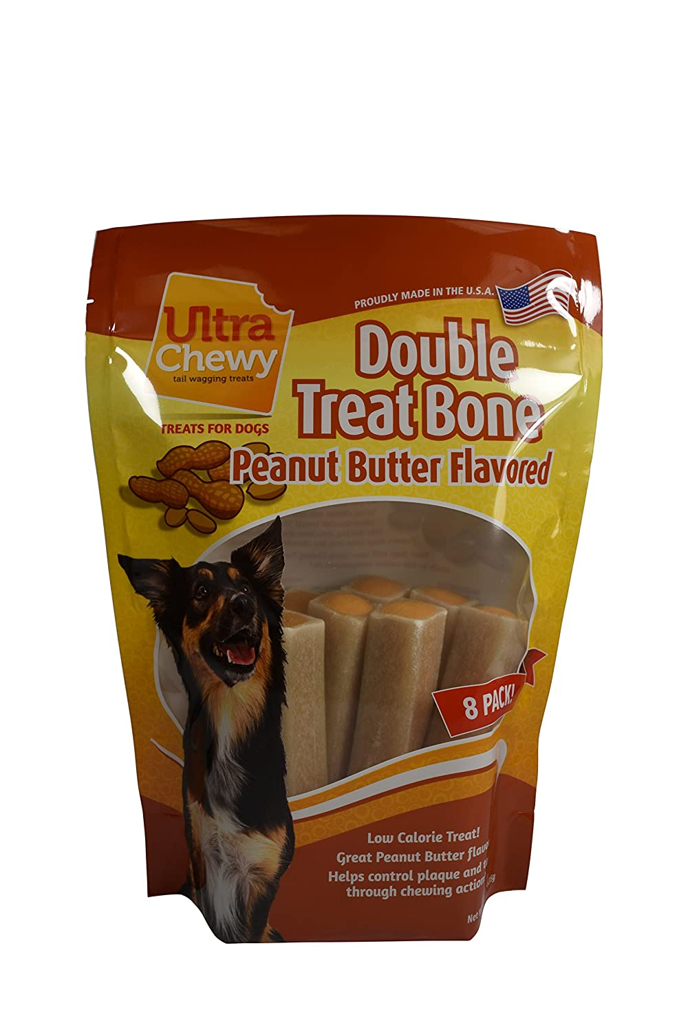 Ultra Chewy Peanut Butter Flavored Double Treat Bone Value Pack Includes 2 Packages