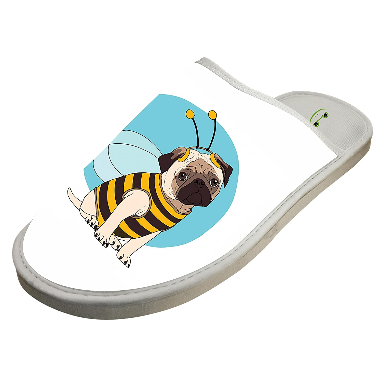 KOUY Funny Pug Closed Toe Cotton Slippers Warm Soft Indoor Shoes Non-watertight