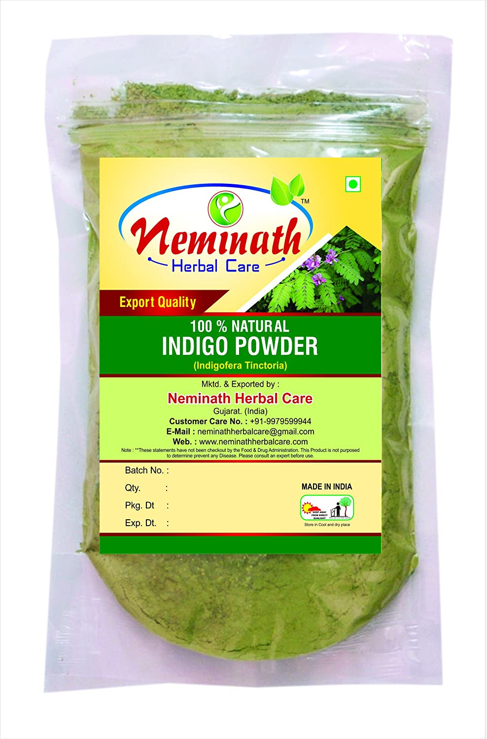 100% Natural Indigo Leaves (Indigofera Tinctoria) Powder As Hair Colorant Naturally (100 Grams/0.22LB) Neminath Herbal Care