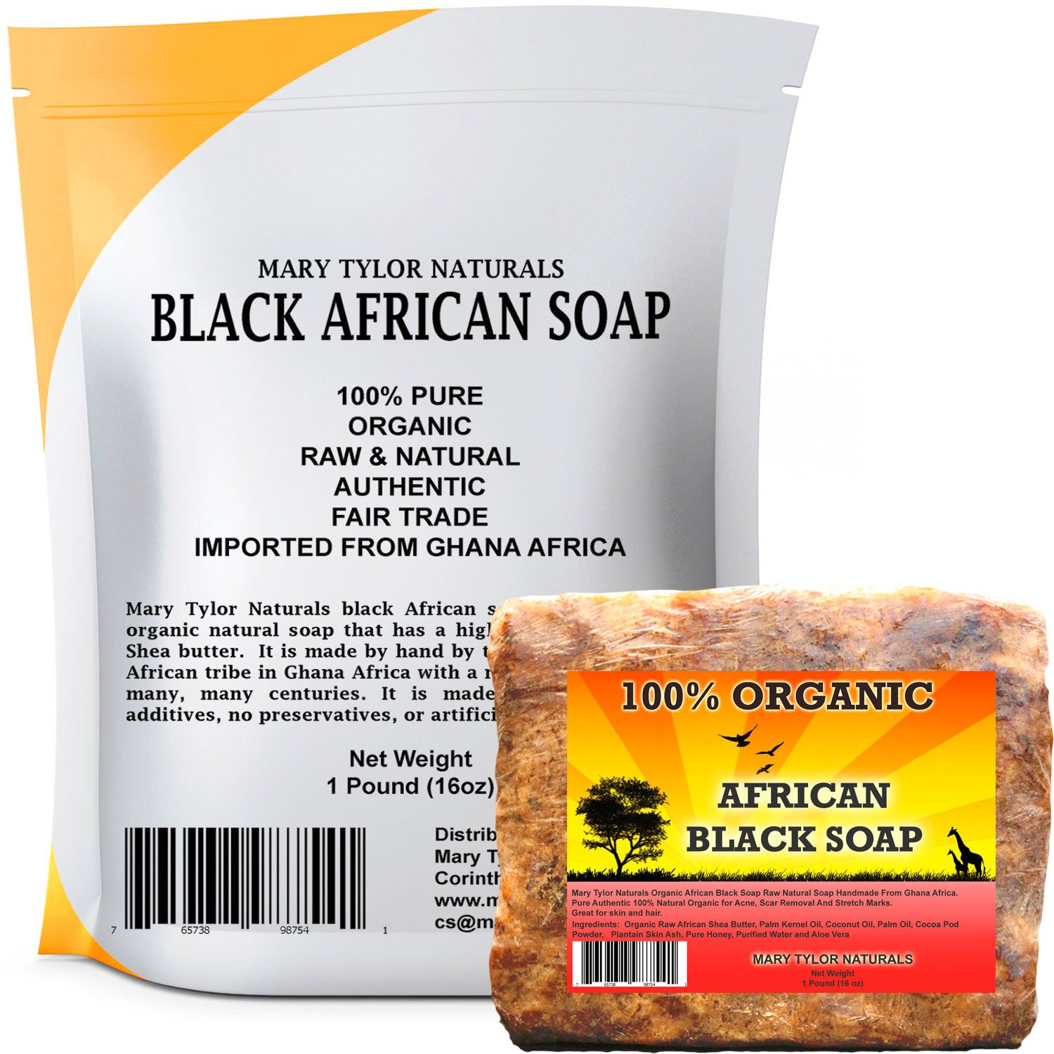 Organic African Black Soap 1 lb by Mary Tylor Naturals, Raw, Natural soap for Acne, Eczema, Psoriasis, Scar Removal Face And Body Wash Authentic Handmade Beauty Bar Imported From Ghana Africa