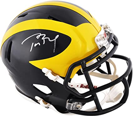 91415fb3f6b Tom Brady Michigan Wolverines Autographed Riddell Mini Helmet - TRISTAR -  Fanatics Authentic Certified