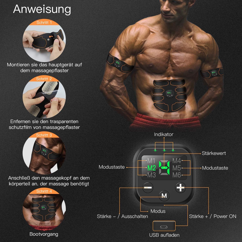 SUNGYIN EMS Muskelstimulator bauchtrainer ABS Trainingsger/ät Professionelle USB Elektrostimulation Elektrisch Bauchmuskeltrainer Fitnessg/ürtel f/ür Damen Herren 8 Pack
