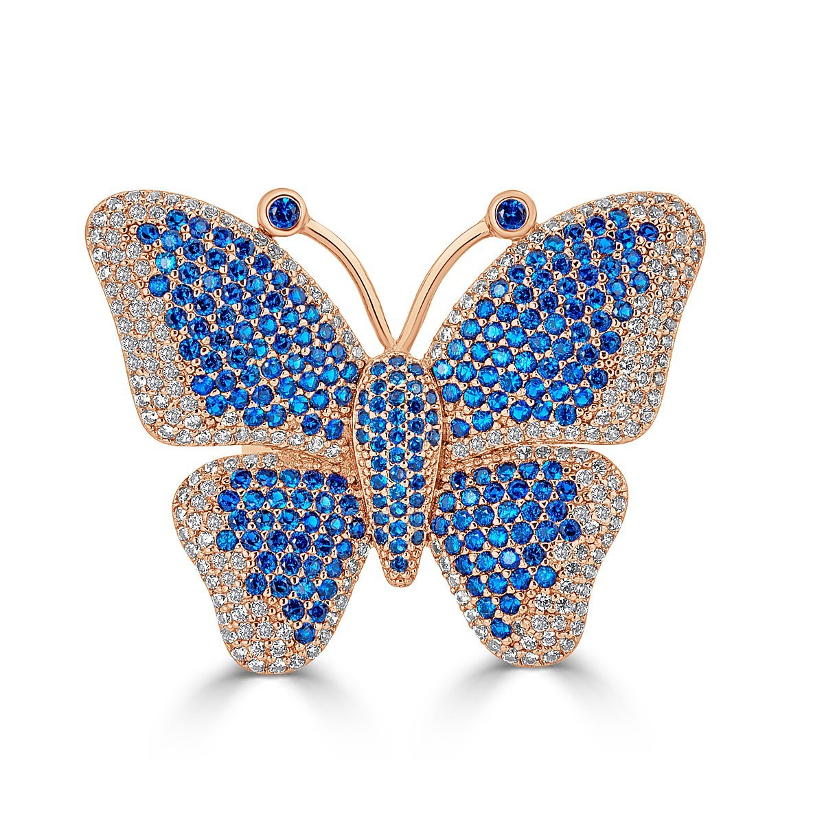 Rose Gold Plated Sterling Silver Cubic Zirconia Pave Butterfly Statement Ring by Caratina (Image #3)
