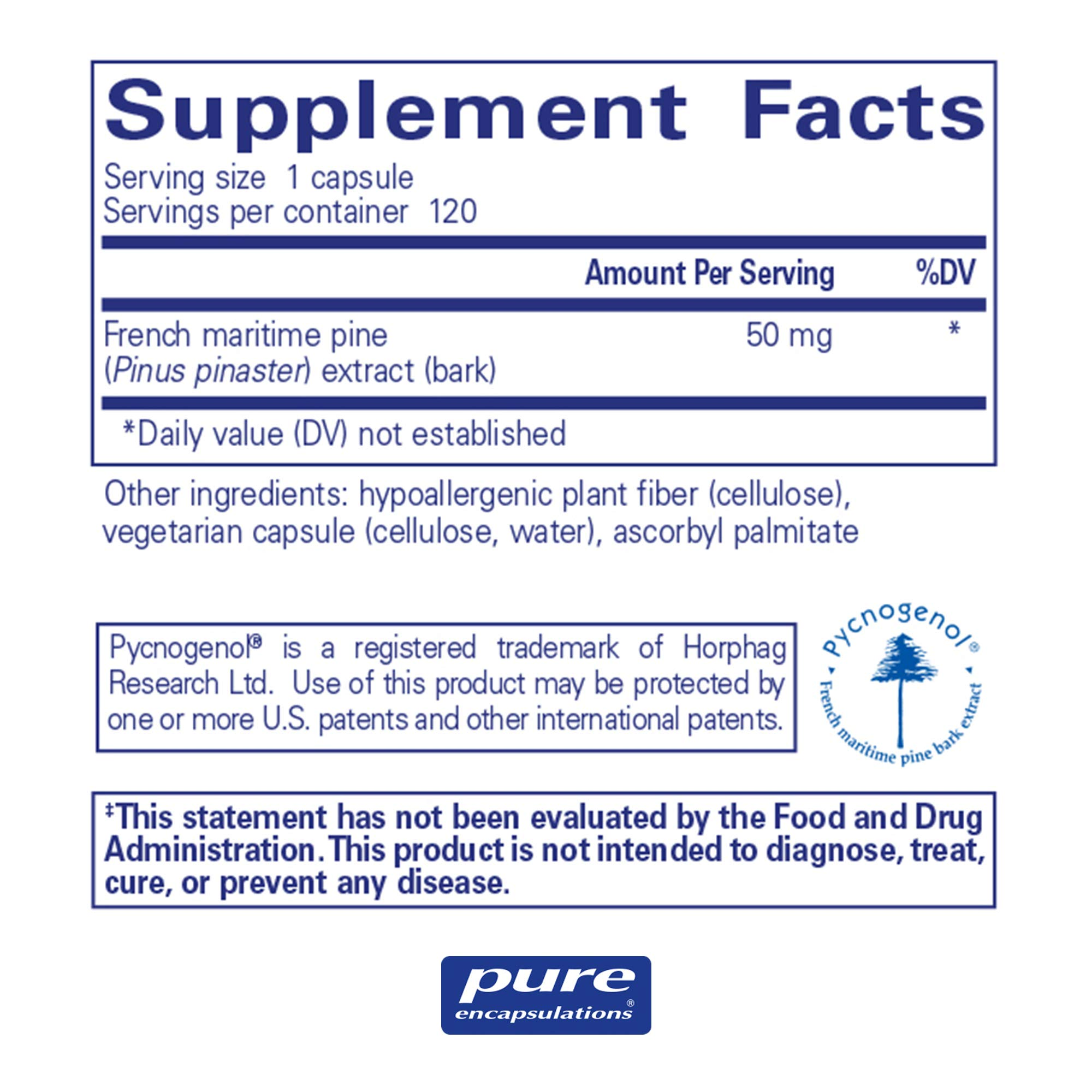 Pure Encapsulations - Pycnogenol 50 mg - Hypoallergenic Supplement to Promote Vascular Health and Provide Antioxidant Support - 120 Capsules by Pure Encapsulations (Image #2)