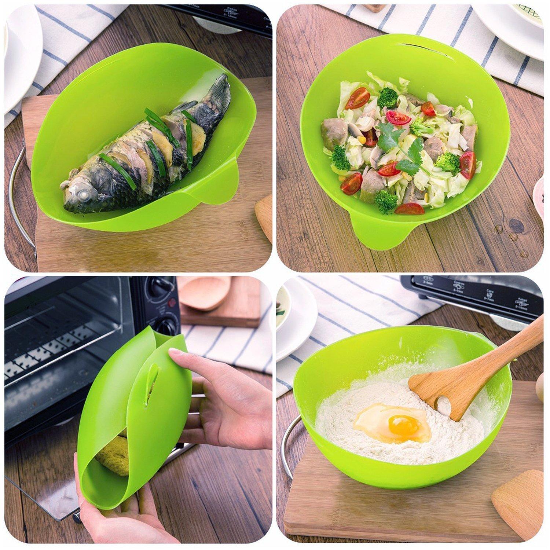 Silicona para cocinar al vapor, food|vegetable eléctrica cocinar pescado silicona bowl| sin BPA microondas cooking| fácil Pod por Cestari cocina (verde): ...