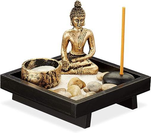 Relaxdays Jardín Zen, Buda, Piedras, Arena, Incienso y Portavelas, Decoración Feng Shui, Madera-Plástico, 1 Ud., Negro: Amazon.es: Hogar