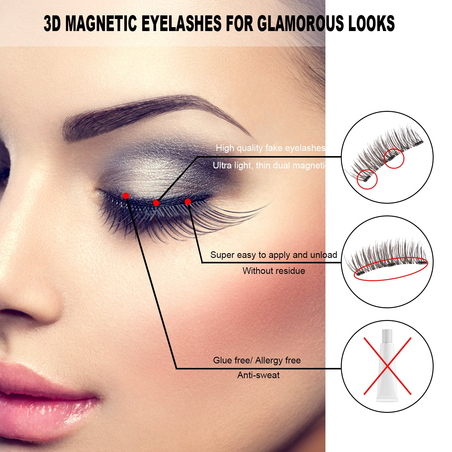 Magnetic False Eyelashes 4 Pieces 3d Reusable Fake Eyelashes For Women Makeup Perfect For