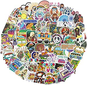 Cool Hippy Stickers for Skateboard, Trendy Vinyl Water Bottle Laptop Computer Phone Notebook Luggage Guitar Skateboard Decal 100Pcs Pack (Hippie)