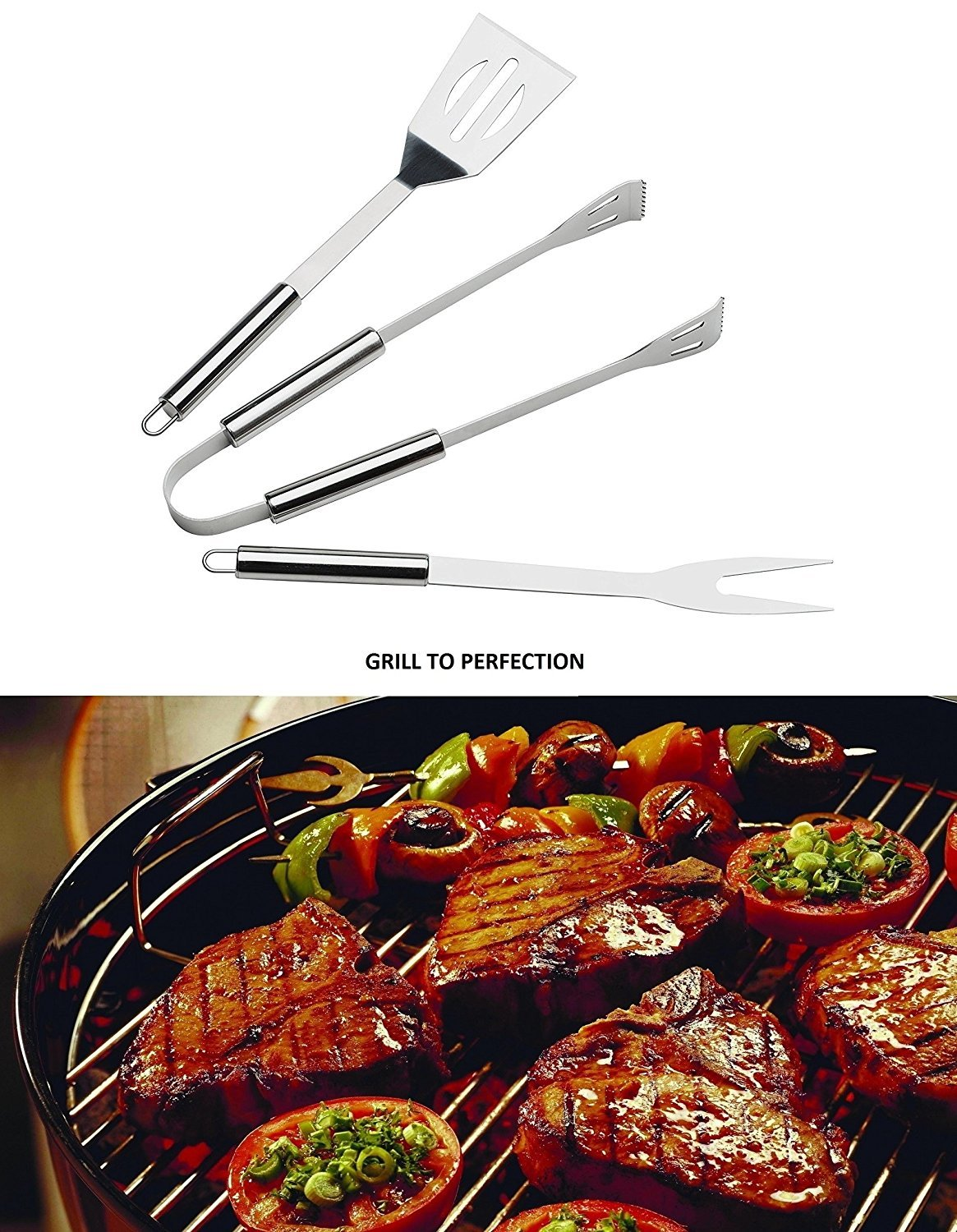 OLIVIA & AIDEN 6 Piece Stainless Steel BBQ Accessory Set - BBQ Spatula, BBQ Tongs, BBQ Fork, Grill Scrubber Brush, Meat Thermometer, Heat Resistant BBQ Glove and Carry Case - Great Value BBQ Tool Set by Olivia's Home Goods (Image #8)