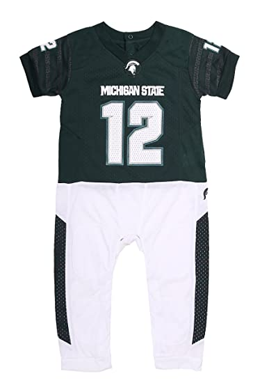 dd5ff938e NCAA Michigan State Spartan Baby Boy Football Uiform Onesie Pajama (3-6)