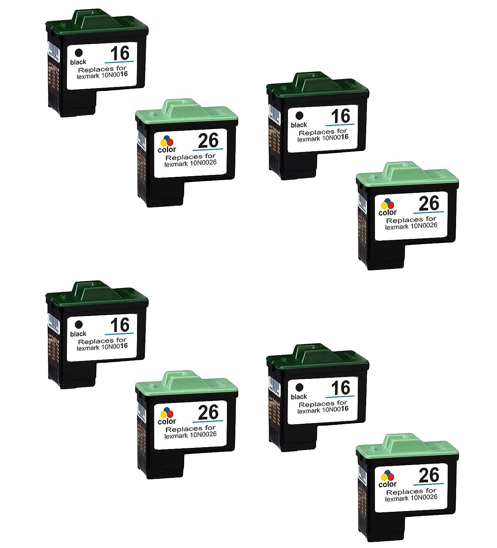 Prestige Cartridge 8 x color Lexmark No. 16 No. 26 Cartuchos de tinta, color x y negro 5f2a08