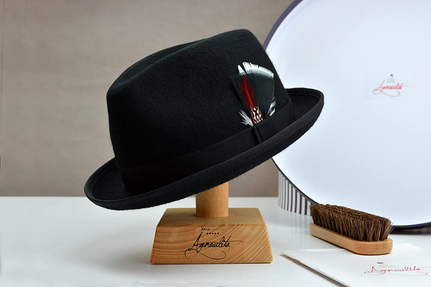 The Black Crab - Black Wool Felt Trilby Fedora Hat - Narrow Brim - Men Women