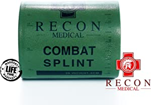 Combat Splint- (Olive Green) Recon Medical Combat Splint 36 inches Lightweight Reusable Waterproof First Aid Medical Tactical Registration Card! (1 Pack) (ROLL 4.25x3)