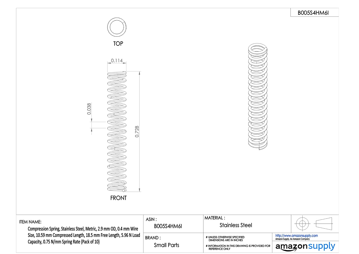 0.75 N//mm Spring Rate 10.59 mm Compressed Length Compression Spring 18.5 mm Free Length Pack of 10 Associated Spring Raymond D20940 Stainless Steel 5.96 N Load Capacity 0.4 mm Wire Size 2.9 mm OD Metric