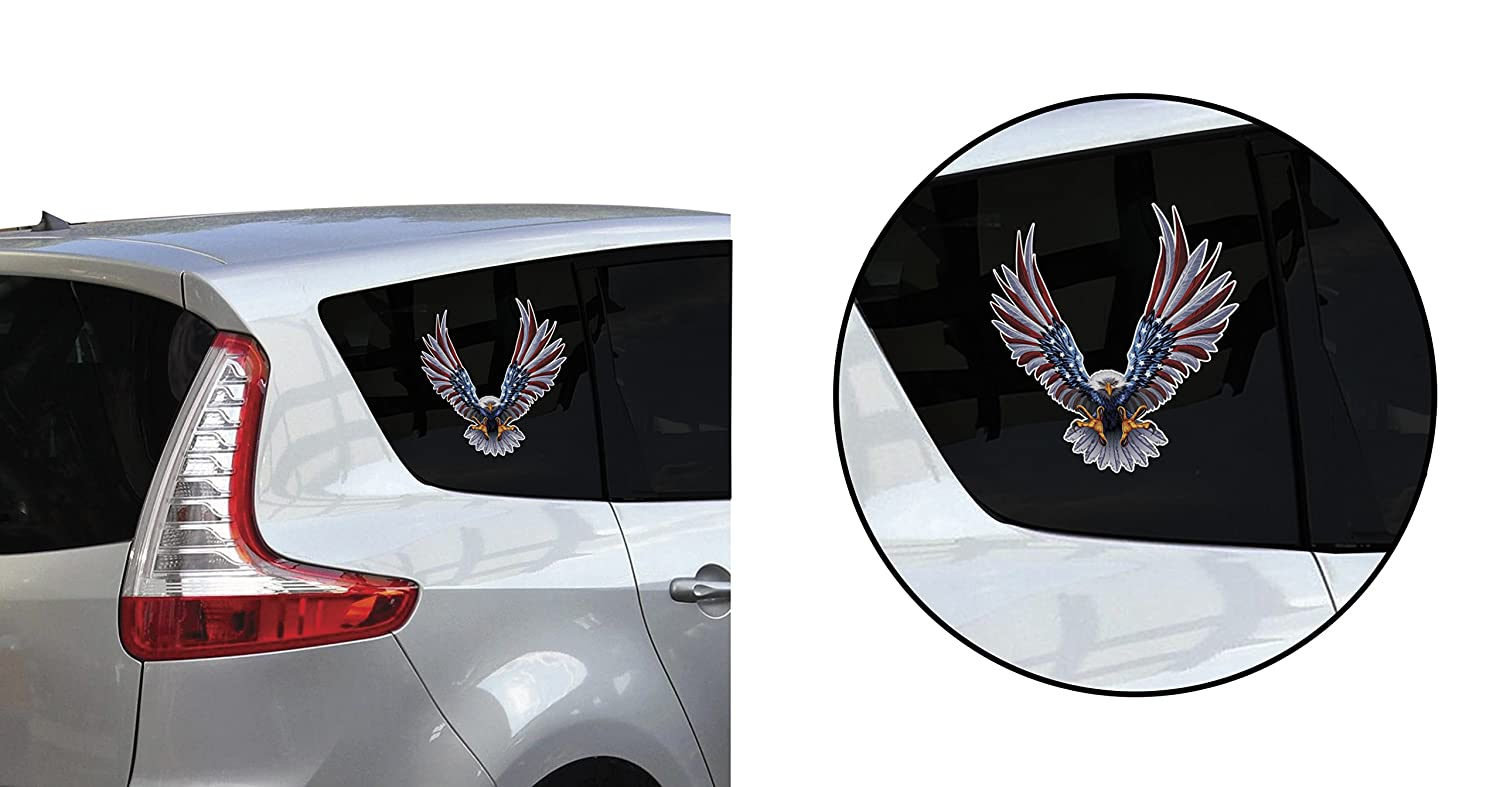 6 x 6.75 Inch American Flag Decal 1 Pack Bald Eagle American Flag Sticker//Decal