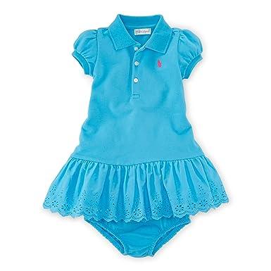 55f19d28d Ralph Lauren Baby Girls Eyelet Polo Dress & Bloomer (6 Months, Lindsay Blue)