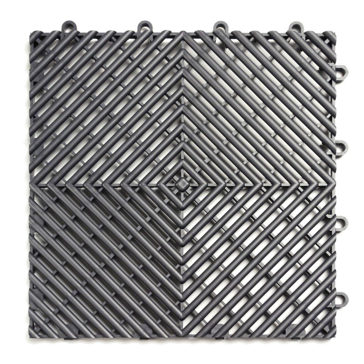 RaceDeck Free-Flow Open Rib Design, Durable Interlocking Modular Garage Flooring Tile (12 Pack), Graphite