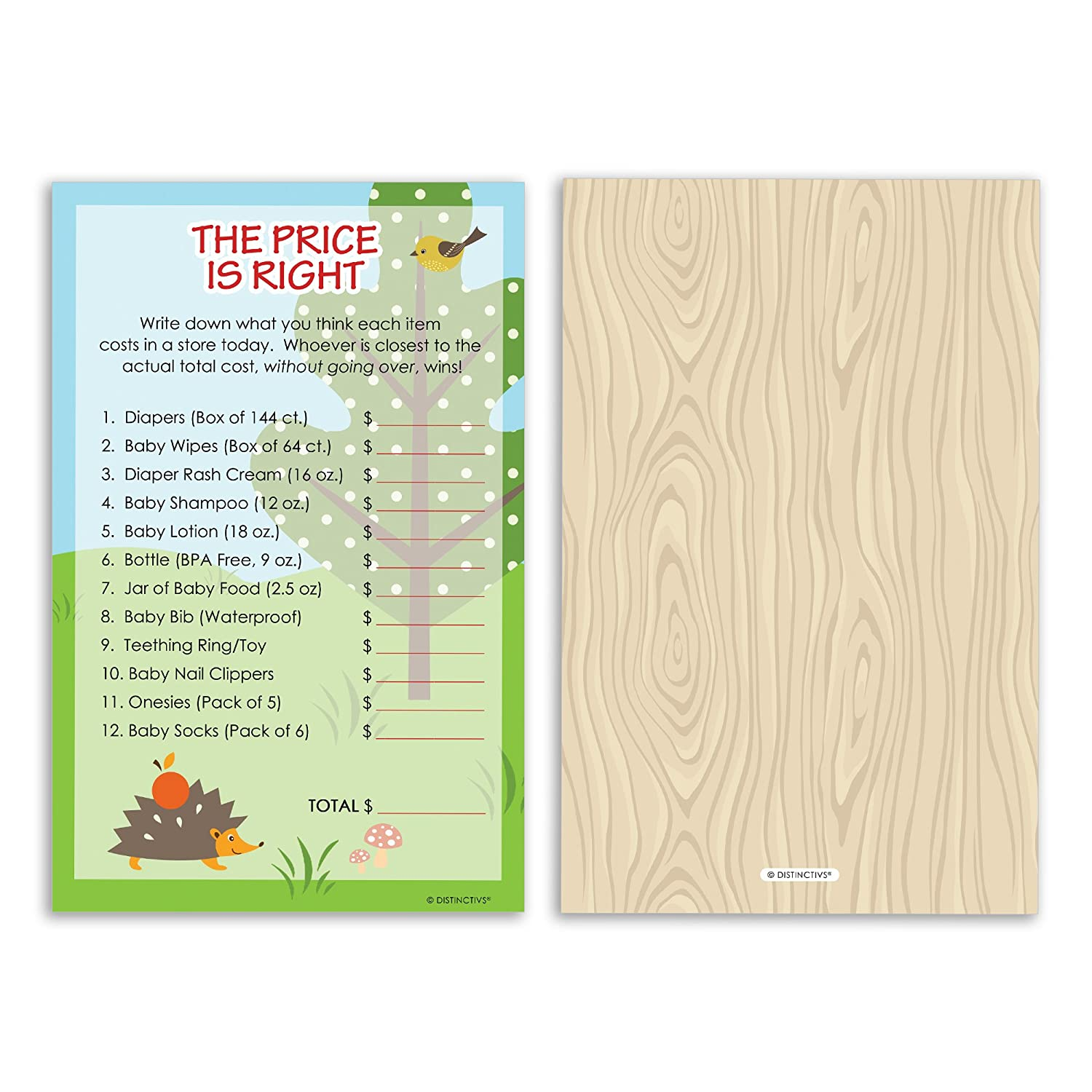 Amazon Woodland Animals Baby Shower The Price is Right Game