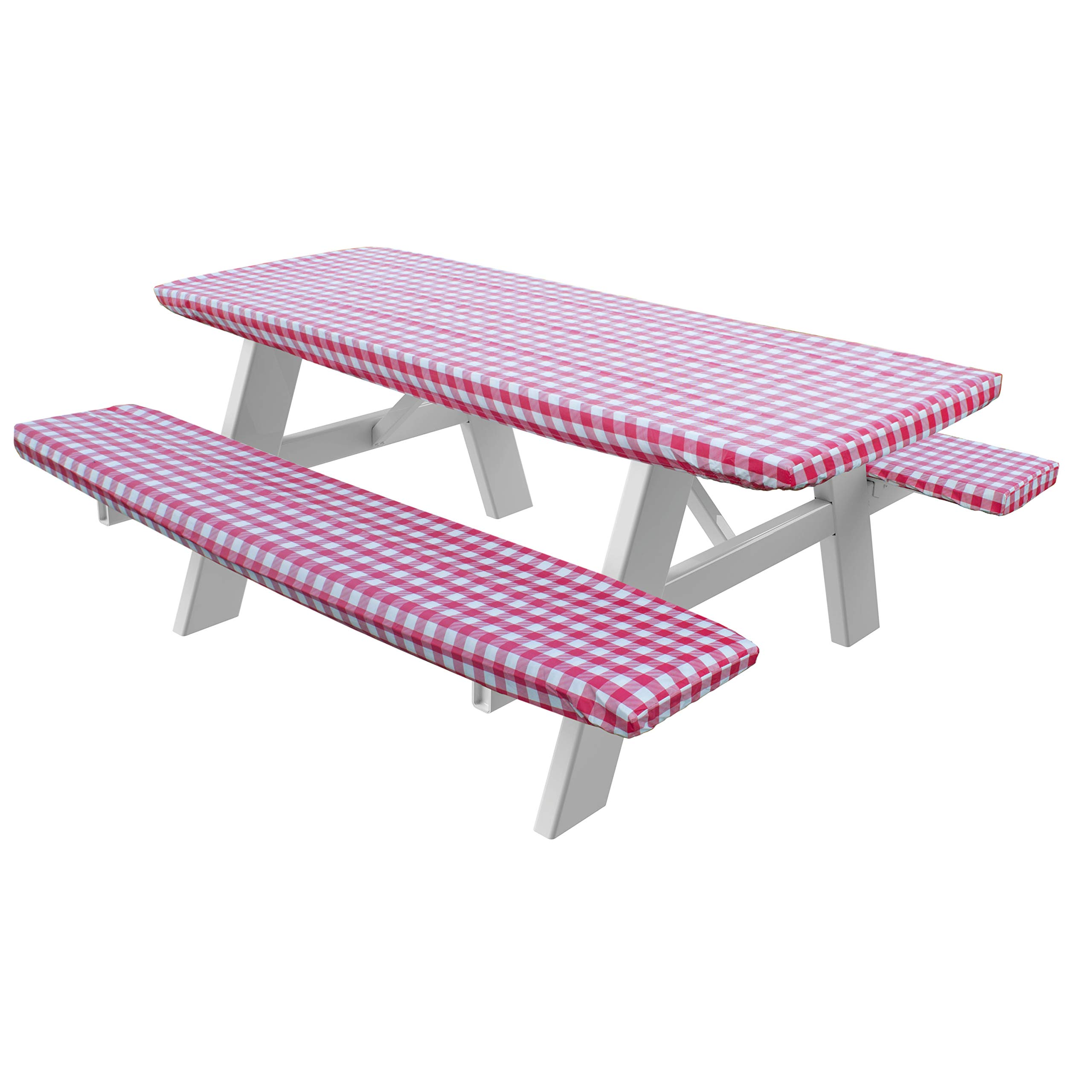 HomeCrate Checkered 72 Inch Picnic Table and Bench Fitted Tablecloth Cover, 3-Piece, Red by HomeCrate