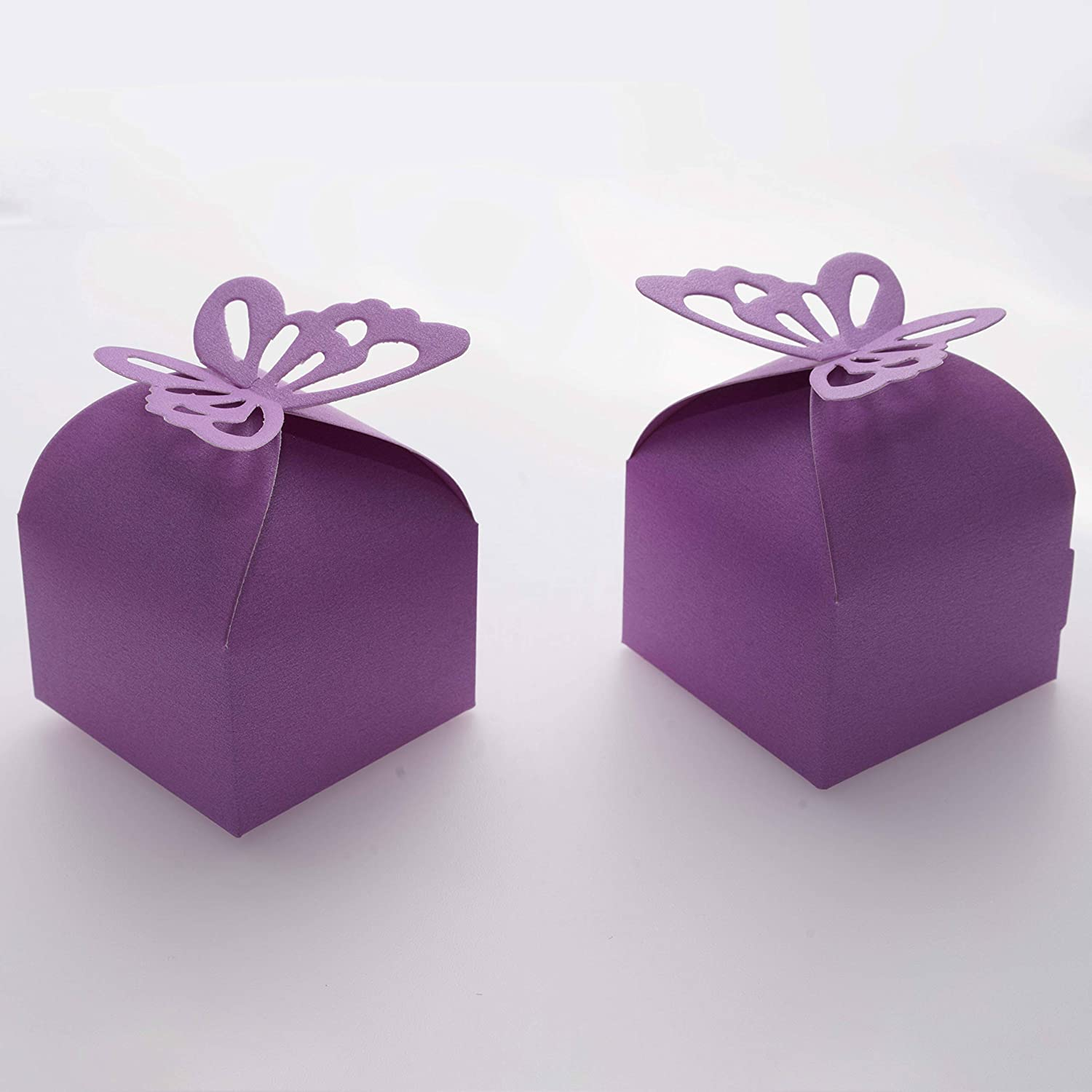 Wedding Favor Boxes Gifts Kraft Brown Boxes Purple Watercolor Flowers Set of 12 Personalized Treat Containers with Stickers for Favors