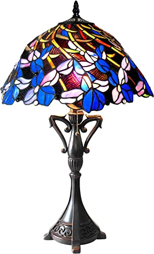 Chloe CH18052BF19-TL2 Natalie Tiffany-Style Iris Table Lamp with 19 Shade, 26 x 19 x 19, Multicolor