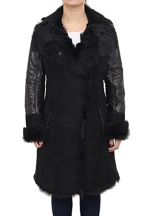 A to Z Leather Manteau en Peau de Mouton Noir pour Femme