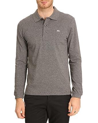 83e824fbdcf21 Lacoste - Long-Sleeved Polo Shirts - Men - PH517C ML Slimfit Elastane Dark  Grey Polo for men - 3  Amazon.co.uk  Clothing