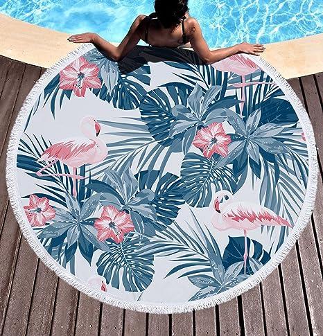 Tropical Flamingo hojas Toalla de playa grande redondo microfibra toalla de playa hippie boho playa manta